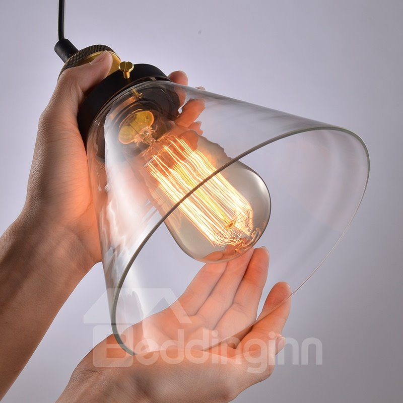 Retro American Country Style Creative Glass Flunnel Shaped Pendant Lights