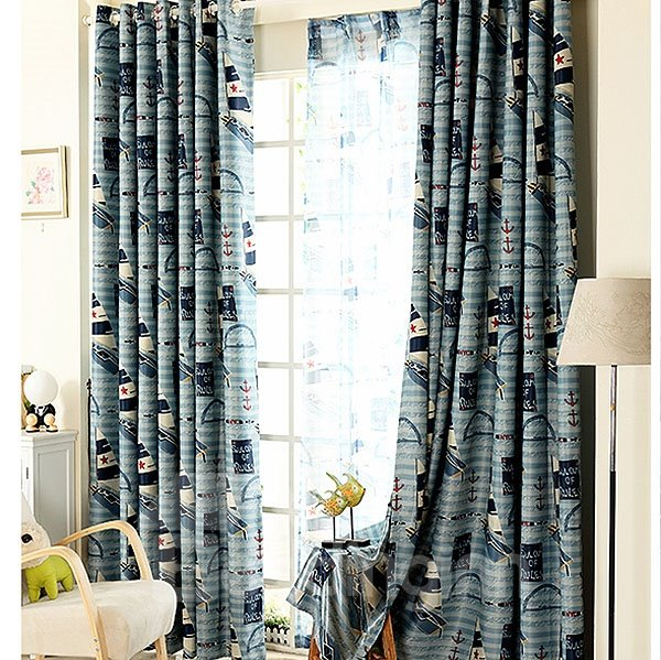 Lovely Cartoon Pattern Mediterranean Style Grommet Top Curtain and Sheer