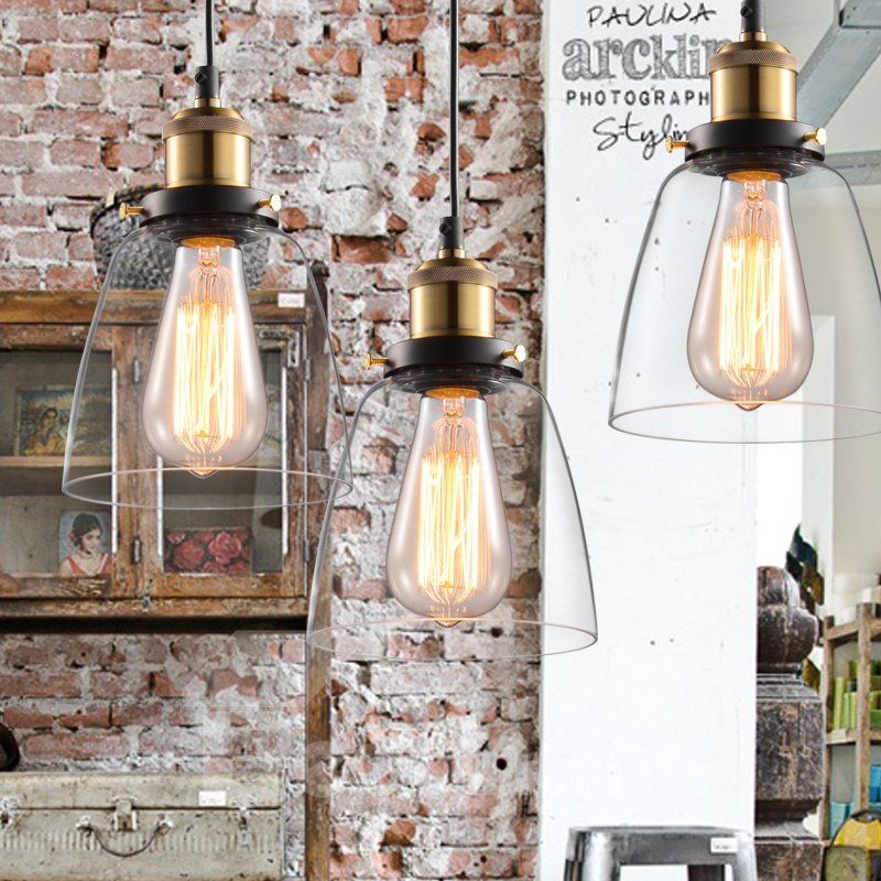 Retro American Country Style Creative Glass Shade Pendant Lights