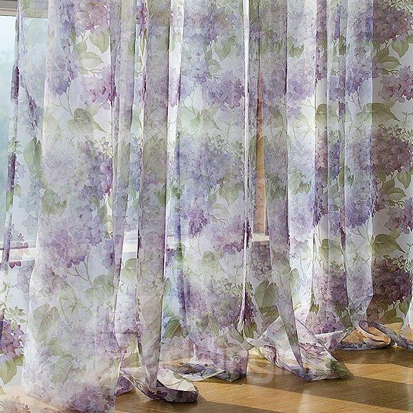 Korean Style Purple Flower Pattern Grommet Top Sheer