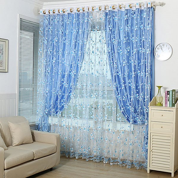 Modern Countryside Flower Print Grommet Top Shading Cloth and Sheer Curtain Sets