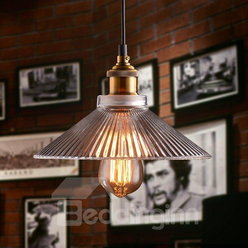 Vintage Industrial 1-Head Glass Shade Pendant Light