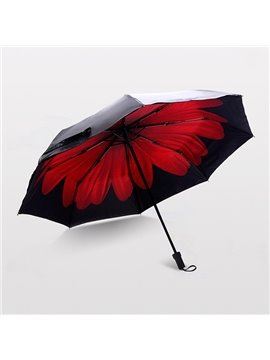 Wonderful Bright Red Daisy Portable Folding Sun Umbrella