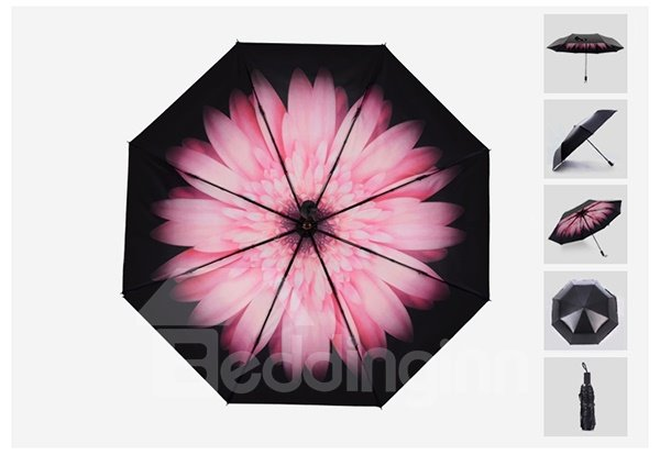 Wonderful Pink Daisy Portable Folding Sun Umbrella