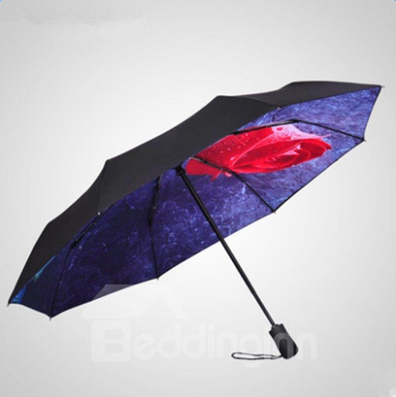 Beautiful Red Rose UV-Blocker Folding Sun Umbrella