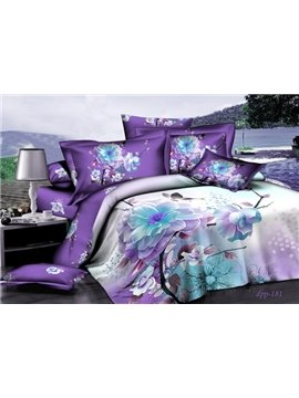 Hot Selling Classic Purple Series With White Flowers Cotton Fitted Sheet