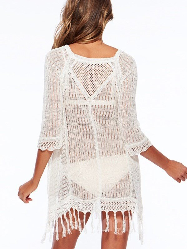 Solid Color Knitted Beach Swimwear with Tassels Round-collar Cover-ups
