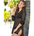100% Cotton Crochet Hollow Tunic Beach Wear One-piece Cover Up