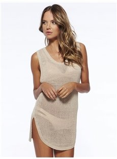 Solid Color V-neck Sexy Beach Crochet Knitted Cover-Up