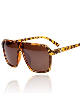 Retro Oversized Leopard Color Square Sun Glasses