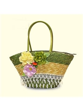 Big Flower Straw Plaiting Satchel