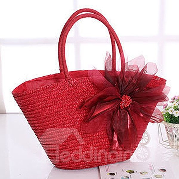 Straw Plait Delicate Floral Shoulder Bag