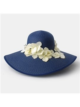 Fashion Broad Brim Women's Summer Beach Flower Decoration Floppy Straw Hat