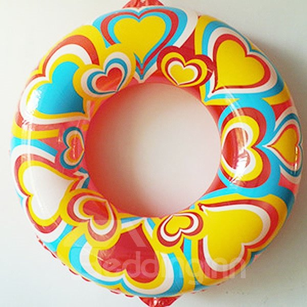 Colorful Heart Shape Pattern Adult Swim Ring with Safety Rope