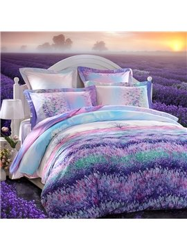Beautiful Lavender Garden Printing 3-Piece Cotton Duvet Cover Set