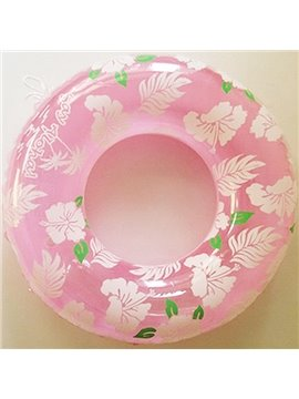 Cute Pink Leaves and Flowers Adult Swim Ring with Safety Rope