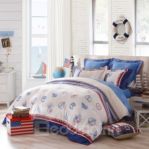 Stain Weave Reactive Printing Navy Style 3-Piece Cotton Duvet Cover Set