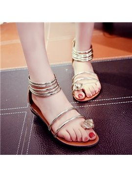 Rhinestone Decorated Slip Resistance Bohemia PU Beach Shoes