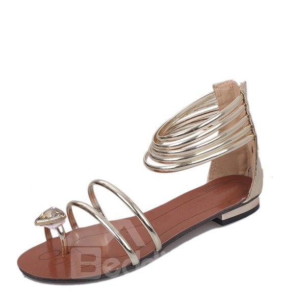 Rhinestone Decorated Slip Resistance Bohemia PU Beach Shoes