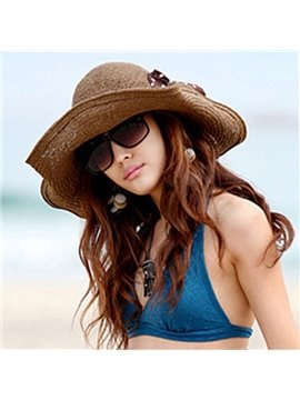 Lovely Dotted Ribbon in a Bow Women's Summer Beach Floppy Straw Hat