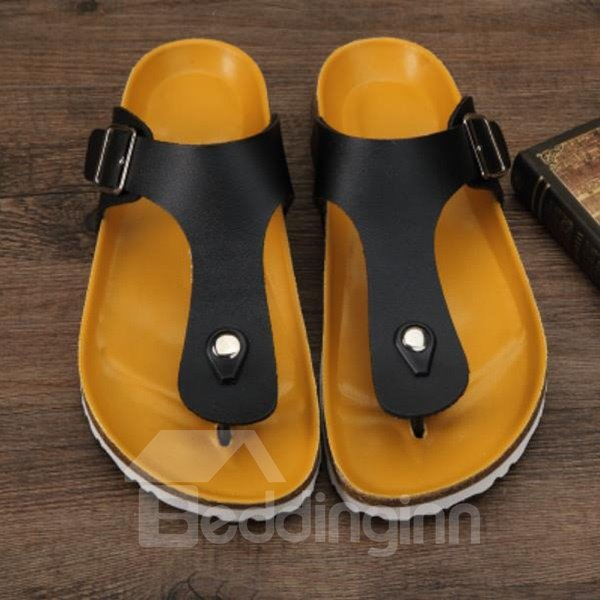 Pure Corrected Grain Leather Leisure Style Thong Man Beach Shoes
