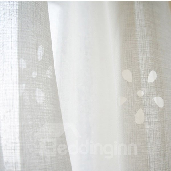 Elegant Hollow Out Flower Double Pinch Pleat Sheer