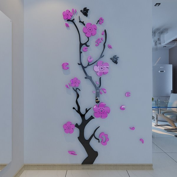 Stunning Plum Flower and Butterfly Pattern 3D Wall Stickers