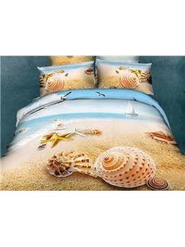 Unique Starfish&Shell on Beach Print One Pair Pillowcases