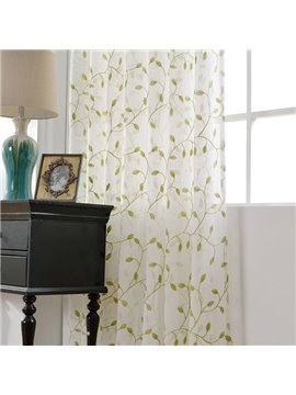 Embroidered Leaves Pattern Linen Grommet Top Sheer
