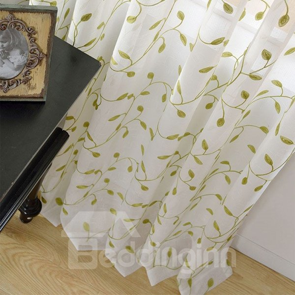 Embroidered Leaves Pattern Linen Grommet Top Sheer