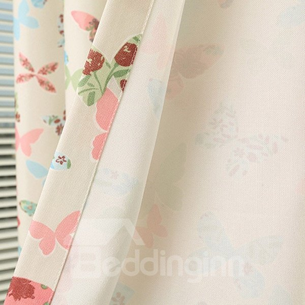 Butterfly Pattern Grommet Top Curtain and Sheer with Different Color Panel