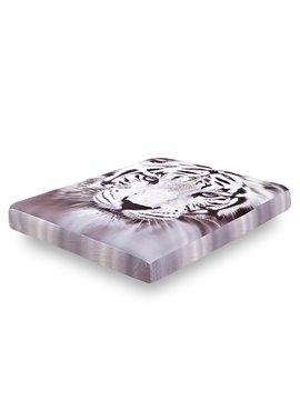 Extremely Vivid 3D White Tiger Printing Cotton Fitted Sheet