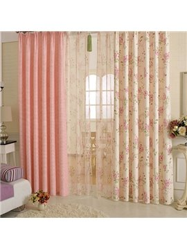 Romantic Rose Pattern Asymmetric Curtain and Sheer