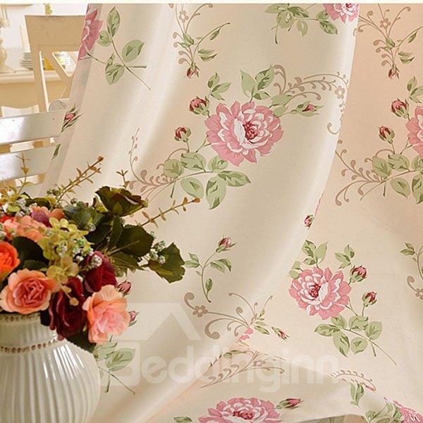 Romantic Pink Rose Printing Asymmetric Shading Cloth and Sheer Curtain Sets