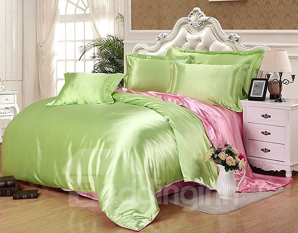 Skin Care Elegant 4-Piece Green Duvet Cover Sets