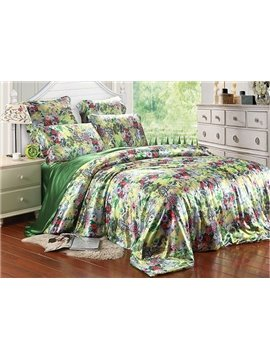 Charming Flower Print 4-Piece Green Duvet Cover Sets