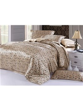 Soft Chinese Style 4-Piece Cream Duvet Cover Sets