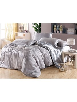 Soft Stripe 4-Piece Silver Duvet Cover Sets
