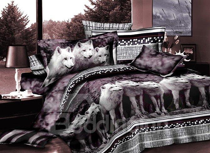 Elegant White Wolves Print 4-Piece Polyester Duvet Cover Sets