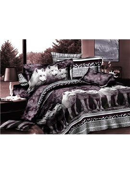 Elegant White Wolves Print 4-Piece Polyester Duvet Cover Sets