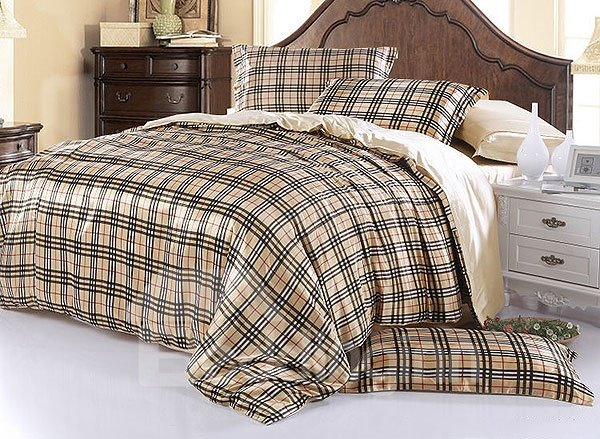 Modern Check Print 4-Piece Cream Duvet Cover Sets