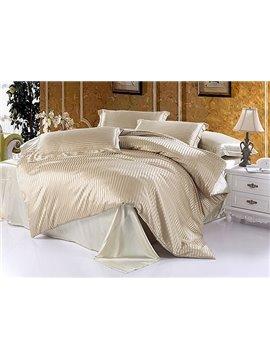 Soft Stripe 4-Piece Cream Duvet Cover Sets