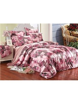 Graceful Rose 4-Piece Pink Duvet Cover Sets