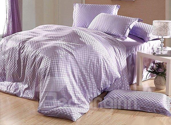 Elegant Check 4-Piece Light Purple Duvet Cover Sets
