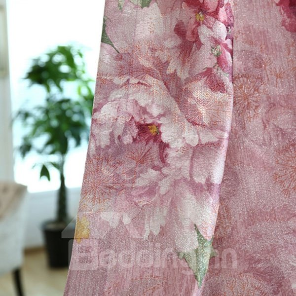 Top Grade Peony Pattern Grommet Top Curtain and Sheer