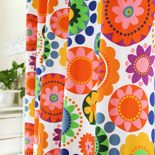 Lively Colorful Flowers Cotton Double Pinch Pleat Curtain