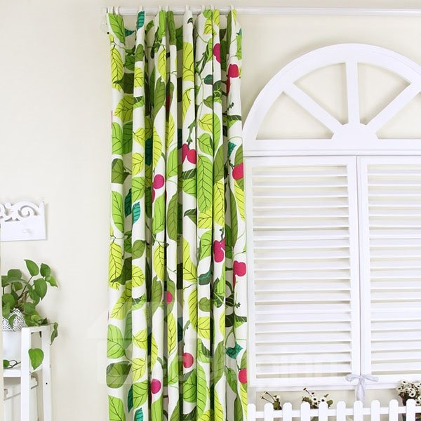 Fruit Pattern Kitchen Curtains: Vivid Leaves And Red Fruit Pattern 100% Cotton Curtain