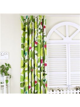 Vivid Leaves and Red Fruit Pattern 100% Cotton Curtain