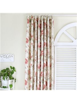 Classic Flower Pattern Countryside Style Cotton Curtain