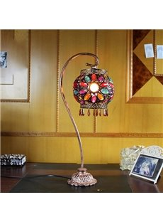 Retro European Multi-Color Floral Table Lamp with Iron Stand